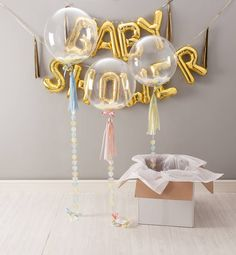 baby shower confetti balloon by bubblegum balloons Baby Shower Balloon Decorations, Baby Shower Balloons, Balloon Garland, Baby Shower Themes, Balloon Ideas, Gold Letter Balloons, Giant Balloons, Bubblegum Balloons, Gold Baby Showers