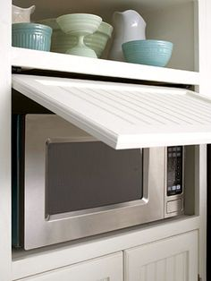 I need to do this.  I hate my microwave. Hidden microwave