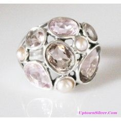 Silpada Artisan Jewelry Sweet Embrace Pearl Pink Glass 925 Sterling Silver Cocktail Cluster Ring B Size 7 Retired Rare