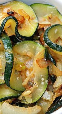 Zucchini with Onion and Garlic is delicious prepared by first taking the water out of the zucchini so it can saute beautifully in a skillet. Zucchini Onion Recipe, Sauteed Zucchini Recipes, Sauteed Zucchini And Squash, Sauteed Vegetables, Onion Recipes, Veggie Recipes, Cooking Recipes, Healthy Vegetarian Recipes, Salads