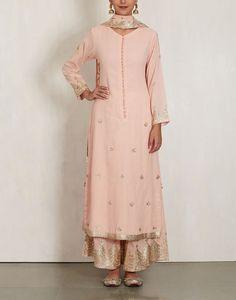 sukriti akriti light pink long kurta w plazzo & dupatta all in cotton mul. with sequin gold work