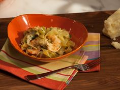 Shrimp and Artichoke Tagliatelle with Black Pepper and Pecorino Recipe : Geoffrey Zakarian : Food Network - FoodNetwork.com