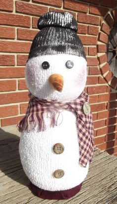 Handmade Country Sock Snowman with Scarf Snowman Christmas Decorations, Christmas Snowman, Kids Christmas, Sock Snowman, Snowmen, The Ordinary, Party Ideas, Crafty, Holidays