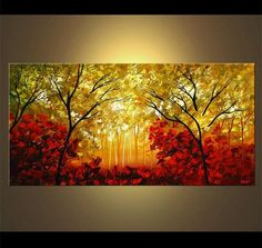 Landscape Blooming Trees Painting Original Abstract Modern Acrylic by Osnat…