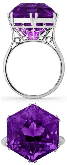 Art Deco hexagonal amethyst.  Set in a delicately filigreed platinum basket, the amethyst weighs approximately 11.00 carats.