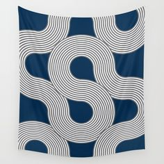 Mid-Century Blue and Gray Line Art Wall Tapestry. #graphic-design #digital #pattern #modern #blue #grey #white #abstract #classic #bold #lines