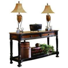 Hooker Furniture Preston Ridge Sofa Table ($909) ❤ liked on Polyvore featuring home, furniture, tables, accent tables, cherry, black console table, storage table, black table, black accent table and drawer table