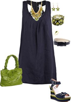 Blue & Green Summer Dress.  Color combo WOW. Love the shoes