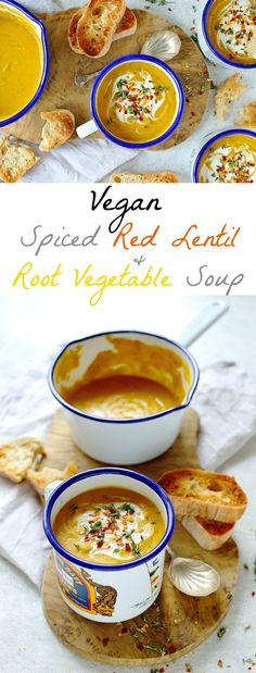 Vegan spiced red lentil and root vegetable soup - a hearty, healthy and filling soup that is quick and easy to make. Vegan spiced red lentil and root vegetable soup - a hearty, healthy and filling soup that is quick and easy to make. Veggie Recipes, Vegetarian Recipes, Cooking Recipes, Healthy Recipes, Vegetarian Cooking, Vegetarian Dinners, Healthy Soup, Salmon Recipes, Vegan Vegetable Soup
