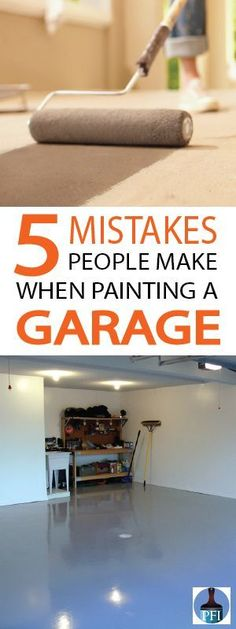 Mistakes Made when Painting a Garage - Painted Furniture Ideas - Finally getting that garage painted? Before you start painting your garage, learn about five mistakes you want to avoid, to have a beautiful final project. Painted Garage Walls, Garage Floor Paint, Painted Floors, Painted Furniture, Furniture Ideas, Painted Garage Interior, Garage Furniture, Garage Flooring, Garage Paint Ideas