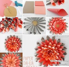 DIY Dahlia Wreath flowers diy crafts home made easy crafts craft idea crafts ideas diy ideas diy crafts diy idea do it yourself diy projects diy craft handmade DIY Beautiful Paper Dahlia Wreath Very popular decoration for home, parties,… easy paper craf Paper Flower Wreaths, Paper Flowers Craft, Flower Crafts, Diy Flowers, Wreath Crafts, Diy Wreath, Wreath Ideas, Construction Paper Flowers, Diy Paper