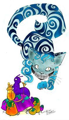 Chesire cat and caterpillar Cheshire Cat Art, Chesire Cat, Lewis Carroll, Cat Character, Character Design, Dark Alice In Wonderland, Tim Burton, Alice Madness, Cute Monsters