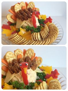 Serve a cute Turkey Cheeseball as an appetizer for your Thanksgiving gathering! Decorate with bell peppers, pecans, carrots, crackers... Get creative! For an added touch - Make some fall leaf bell peppers with a cookie cutter!  The Cheeseball recipe is from Allrecipes.com but you can really use any Cheeseball recipe you want!
