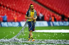 LONDON, ENGLAND - MAY 30: Francis Coquelin of Arsenal looks on in victory after the FA Cup Final between Aston Villa and Arsenal at Wembley Stadium on May 30, 2015 in London, England. Arsenal beat Aston Villa 4-0. (Photo by Shaun Botterill/Getty Images)