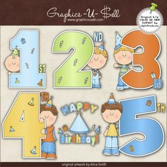 Birthday Years (Boys) 1 - Whimsical Clip Art by Alice Smith