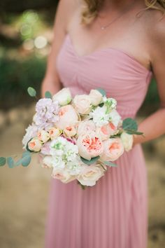 Bridesmaid Bouquet of Juliet Garden Roses, Lavender Stock, Spray Roses, Eucalyptus & Ranunculus by Haute Blossoms Floral. Whitney-Turner- Photography- Condor-Ridge-Ranch-SB