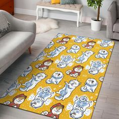 Somoyed Dog Pattern Print Home Decor Rectangle Area Rug