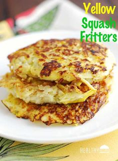 Low Carb Meals Yellow squash fritters make a tasty alternative to hash browns or potato pancakes. - These golden yellow squash fritters make a tasty, healthy alternative to hash browns or potato pancakes. They are delicious and healthy! Low Carb Recipes, Cooking Recipes, Healthy Recipes, Side Dish Recipes, Tapas Recipes, Cooking Rice, Beef Recipes, Easy Recipes, Vegetable Recipes