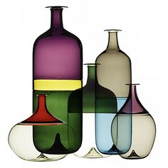 "Bolle bottles by Finnish designer and sculptor Tapio Wirkkala for Venini (1968) using the ""Incalmo technique"""
