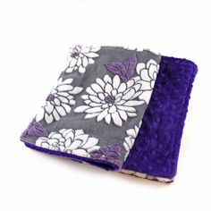 Purple Flower Burp Cloths, Gray White C- set of 2 Minky // Ready to ship / Minky Burp Cloth / Baby Shower Gift / Purple Burp Cloth by Sewingdreamsnotions on Etsy