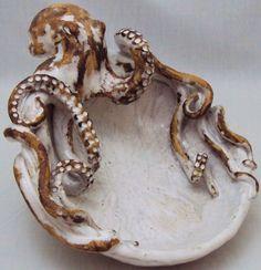 Octopus Bowl (Small) Ceramic Sculpture: Beach Decor, Coastal Home Decor, Nautical Decor, Tropical Island Decor & Beach Cottage Furnishings