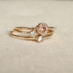 //stacking rings, gold, diamond, handmade - maryjohn
