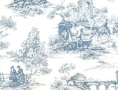 Petite Toile Wallpaper Blue on off white toile de jouy depicting fisher men and rural country scenes. Half Bathroom Wallpaper, Toile Wallpaper, Man Wallpaper, Designer Wallpaper, Blue And White Curtains, Dark Blue Walls, Colored Ceiling, Country Scenes, Home Room Design