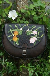 Sky Raven Wolf leather- tab fronted rich brown boho bag with Seasons Pentacle design