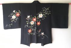 Vintage Japanese Kimono Haori Jacket Ebaori Silk tessen