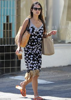 Wardrobe change: Jordana was spotted the same day in another printed dress hitting a nail salon in Santa Monica. She exited with throw-away flip flops and refueled on caffeine Dallas, Most Beautiful Hollywood Actress, Old Actress, Celebrity Feet, Hollywood Actresses, How To Look Pretty, Frocks, Sequin Skirt, Beautiful Women