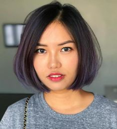 Purple-Tinted Off-Centered Bob