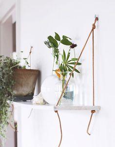 DIY Shelf with Leather Straps Tutorial