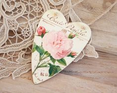 Pink Rose Tin Heart Tag by BailiwickStudio on Etsy, $6.50