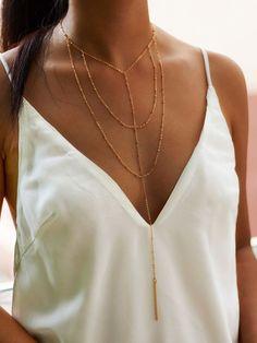 Shein Bar Drop Layered Chain Necklace