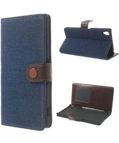 Sony Xperia Z3 Wallet case Jeans Cloth Donker Blauw
