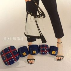 Back to school nails Blue Toe Nails, Pretty Toe Nails, Feet Nails, Pretty Nail Art, Toe Nail Designs For Fall, Cute Pedicure Designs, Simple Nail Designs, Bling Nails, Swag Nails