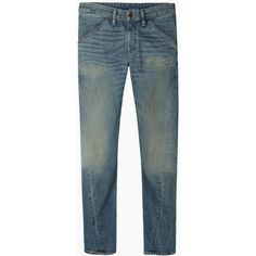 6397 Twisted Seam Jean ($160) ❤ liked on Polyvore featuring jeans, bottoms, pants, men, loose skinny jeans, skinny leg jeans, blue jeans, loose fit jeans and loose jeans