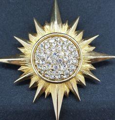 Swarovski swan signed brushed gold tone sunburst brooch with pave crystal center. No missing crystals. 80s Jewelry, Swarovski Swan, Brooch, Sun, Crystals, Gold, Ebay, Brooches, Crystal