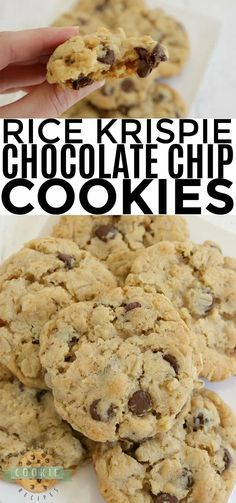Rice Krispie Chocolate Chip Cookies are full of oats, Rice Krispies, and chocolate chips. A deliciously crunchy variation on a classic chocolate chip cookie recipe! Delicious Cookie Recipes, Best Cookie Recipes, Yummy Cookies, Fruit Recipes, Cupcake Cookies, Yummy Snacks, Dessert Recipes, Quick Cookies, Dessert Ideas