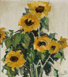 Sunflowers (1963) by Einer Johansen (1893-1965) Danish, oil on canvas (poboh)