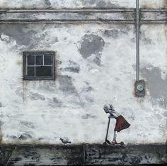 3rd in a series of graffiti on encaustic medium