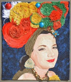 "Carmen Miranda, 31 x 36"", by Marian McCoin.  Posted by Karen Marchetti. Famous Female Faces quilt guild challenge, 2015 AQS - Grand Rapids."