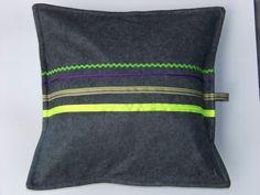 Striped Multicolor Neon Decorative Felt Pillow Cover by StudioBin, €31.00