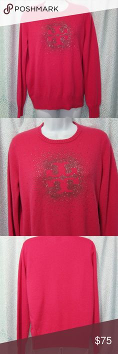 "Tory Burch Pink & Bling Logo Wool/Cashmere Sweater Tory Burch Pink & Bling Logo Wool/Cashmere Blend Crew neck Sweater  Beautiful Hot Pink Color With Sparkly Beaded Logo PLEASE NOTE.. SOME OF THE SILVER BEADING HAS FALLEN OFF BUT THE PATTERN IS STILL CLEAR.  SZ Med armpit to armpit - 19 3/4"" waist flat - 19 1/4"" bottom of sweater flat - 15 3/4"" length from shoulder down - 24"" Tory Burch Sweaters Crew & Scoop Necks"