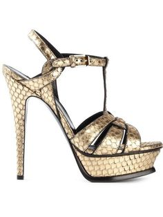 SAINT LAURENT Tribute Python Snake Platform Sandals Gold $850 (COMPARE ELSEWHERE AT $950) - - - WE ARE LOCATED AT *THE TRUMP BUILDING* ON WALL ST. IN NYC - ORDER PICK UP OR FREE DELIVERY WORLDWIDE - - - SHOP OUR OFFICIAL WEBSITE: annesOFnewyork.com