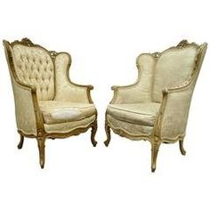 Pair of 1930's French Louis XV Style Carved Wingback Bergere Armchairs