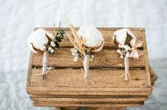 Cotton Boutonnieres For The Boys