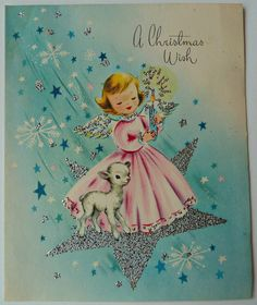 Angel and lamb on star Old Time Christmas, Purple Christmas, Christmas Past, Retro Christmas, Christmas Angels, Vintage Greeting Cards, Christmas Greeting Cards, Christmas Greetings, Vintage Postcards