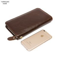 28.69$  Buy now - http://ali94h.shopchina.info/1/go.php?t=32709720683 - YUPINXUAN Oil Wax Leather Wallets Genuine Leather Clutch Purses Men Business Cow Leather Wallets Zippers Around Money Clips New  #magazine