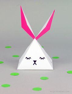 printable party favor pyramid bunny box